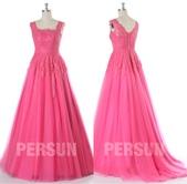 robe mariage:robe de mariee princesse rose fuchsia bustier dentelle.jpg