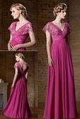 robe mariage:Robe longue empire vintage avec lacets criosés en fuchsia.jpg
