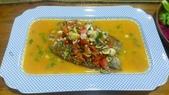 西式魚類料理:香煎鱸魚片佐蕃茄醬汁
