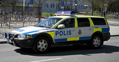 我的相簿:Swedish_police_car_(Volvo_XC70)_outside_Ekonomikum,_Uppsala,_200