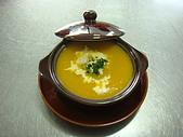 西式料理教學菜:5--38  CREAM OF PUMPKINWITH SHRIMP奶油鮮蝦南瓜湯.JPG