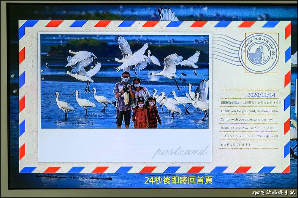 也有多款模擬候鳥飛行的互動式多媒體遊戲,最後都能夠以類似明信片的方式讓遊客拍照留影、做個紀念!
