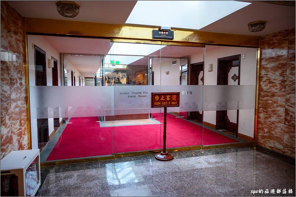 台北圓山大飯店 百年金龍旁的金龍廳客房入口處