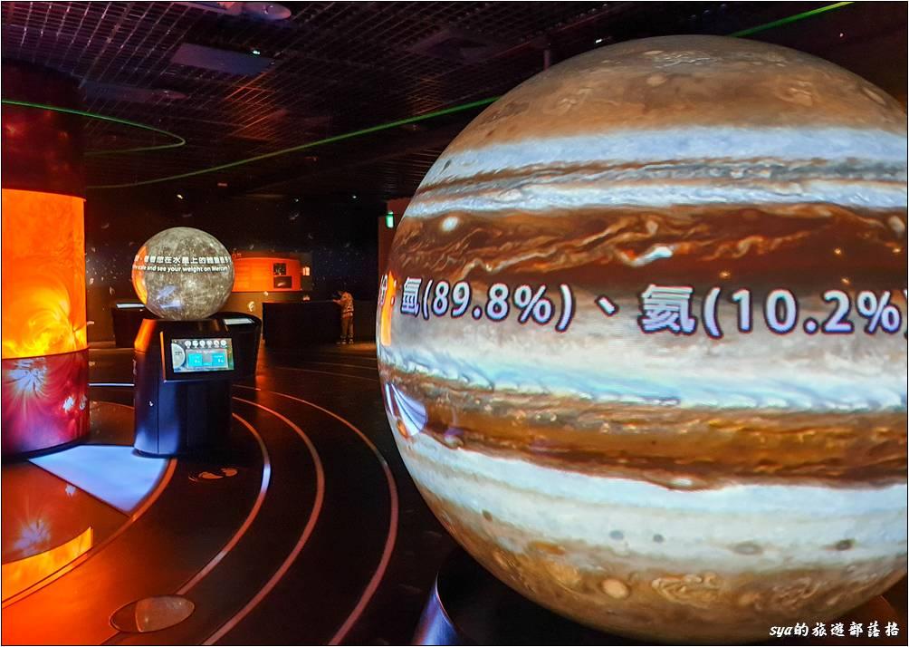 太陽系結構。這裡有八大行星的介紹,以及行星的衝、合等的位置介紹。「衝」就是我們常聽到的例如「火星衝」,這個代表太陽、地球、與火星位於一直線的狀況。