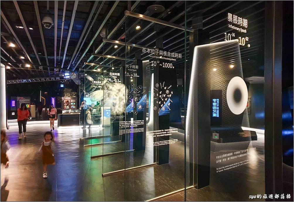 展示場三樓宇宙區,利用7片透明玻璃上的圖像,說明宇宙演化的重要階段。