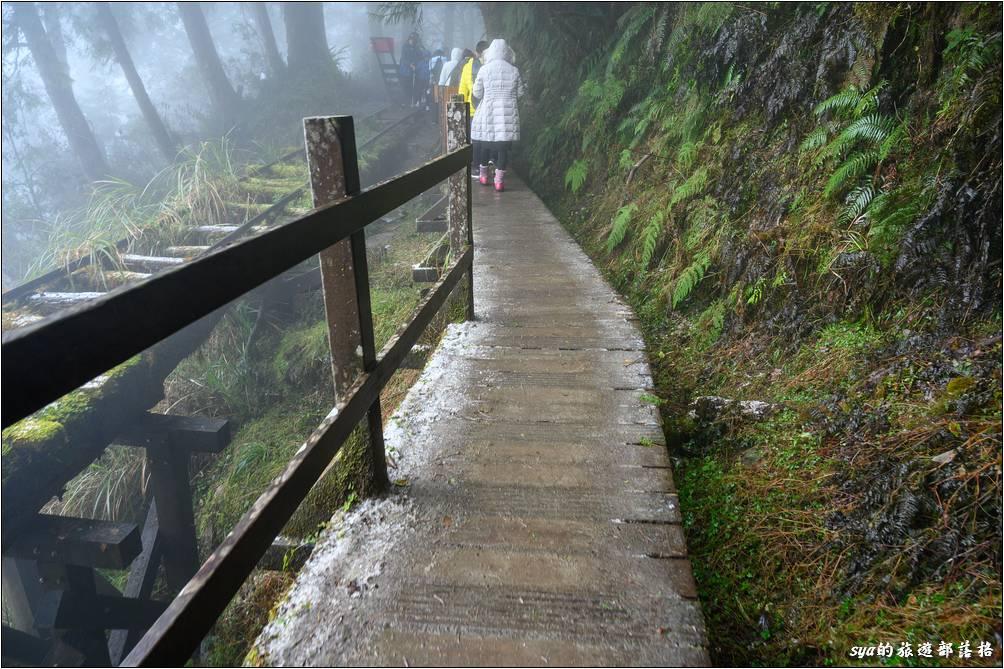 這是第二處的懸空舊鐵軌路段,一旁則是限制同時承載人數的木橋。