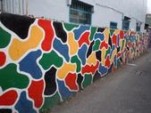 """102.11.19 [台南彩繪] 永康復興老兵眷村:兩旁的""""牆壁""""是不同的,雖然是一樣的題材,但就是有點不一樣的味道"""