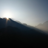 日月潭-白天:日出微光時的日月潭